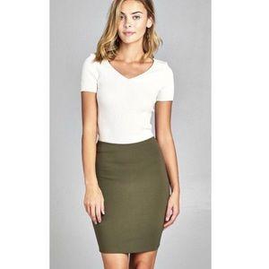 Dresses & Skirts - OLIVE PENCIL SKIRT- FORM FITTING -SUPER FLATTERING